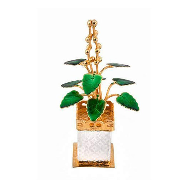 925 PURE SILVER GOLD POLISHED TULSI PLANT FOR HOME TEMPLE