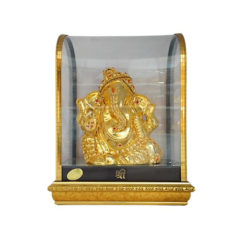 LORD GANESH GOLD POLISH  IDOL IN GLASS BOX