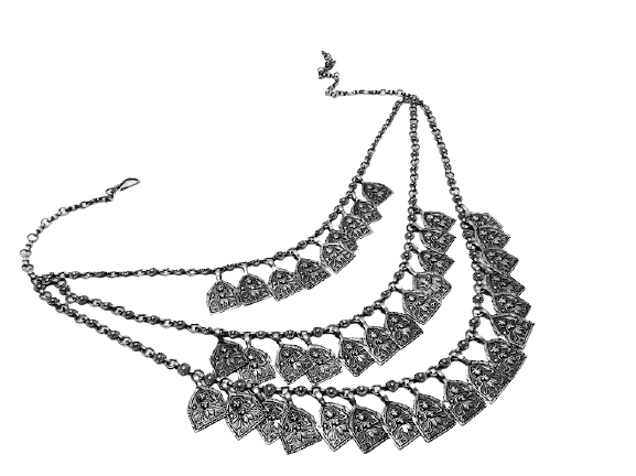 92.5 OXIDIZED SILVER  TRADITIONAL NECKLACE FOR LADIES