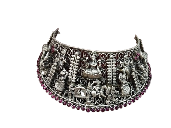 92.5 ANTIQUE SILVER CHOKER NECKLACE FOR WOMEN