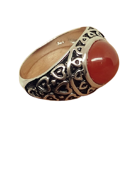 92.5 OXIDIZED SILVER RUBY RING FOR MEN