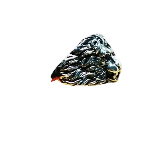 92.5  OXIDIZED SILVER  STYLLISH FANCY  LION RING FOR MEN