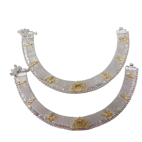 92.5 SILVER TRADITIONAL ANKLETS PAYAL PAIR FOR WOMEN & GIRLS