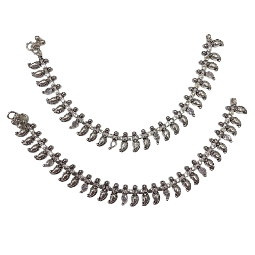 SILVER TRADITIONAL ANKLETS PAYAL PAIR FOR WOMEN & GIRLS