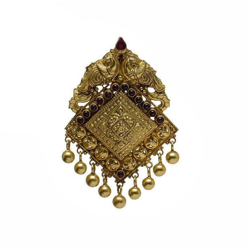 PEACOCK DIAMOND SPINAL GOLD POLISHED PENDANT