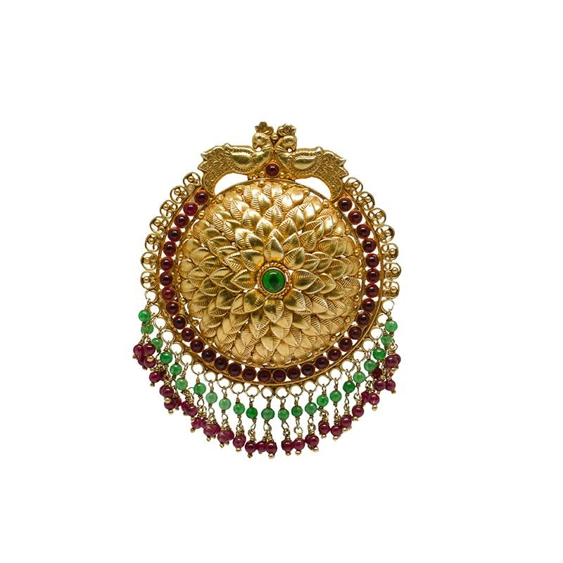 BEETEL LEAF REN AND GREEN  GOLD POLISHED PENDANT FOR GIRLS