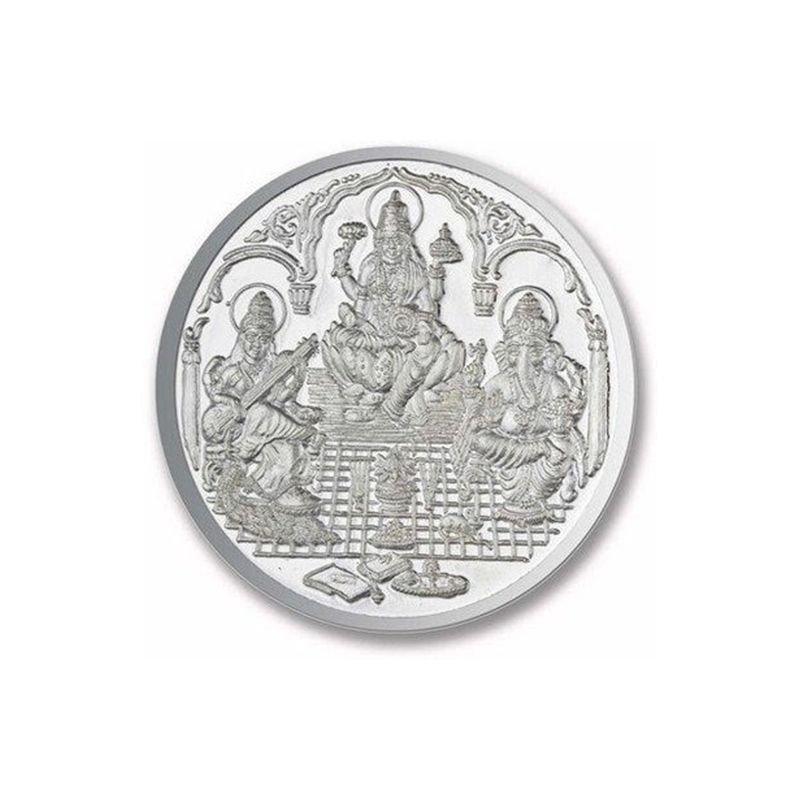 LAKSHMI GANESH SARASVATHI ROUND 999 SILVER COIN