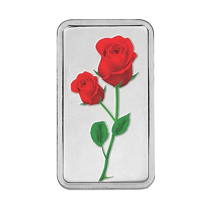 PURE SILVER  ROSE ENAMELLED 999 SILVER BARS