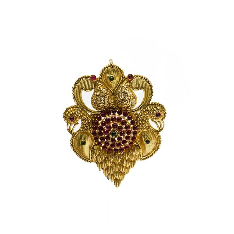 DOUBLE PEACOCK MANGO  GOLD POLISHED PENDANT FOR WOMEN