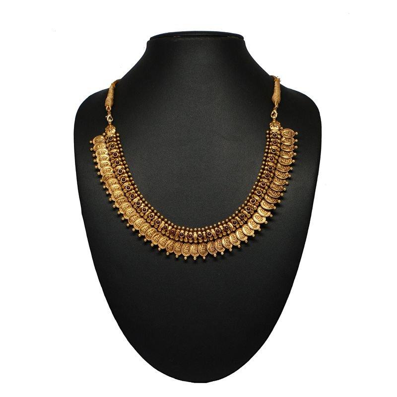OVAL KAASU MALA GOLD POLISHED NECKLACE FOR GIRLS
