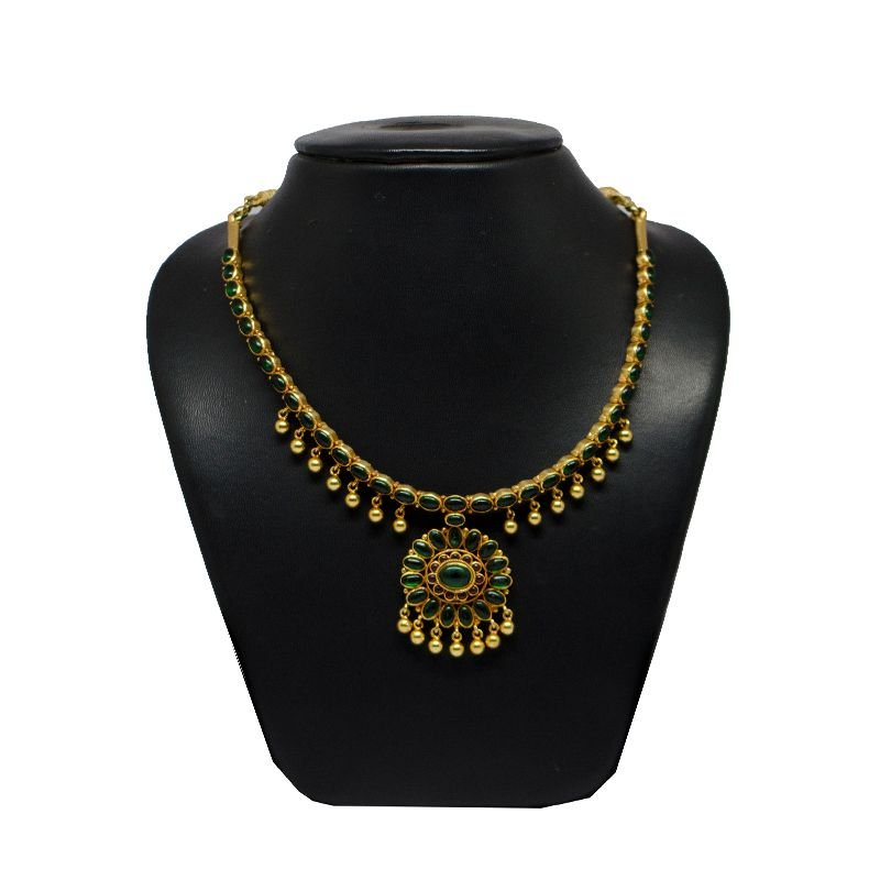 GREEN SPINAL BALL DROP GOLD POLISH NECKLACE FOE WIFE