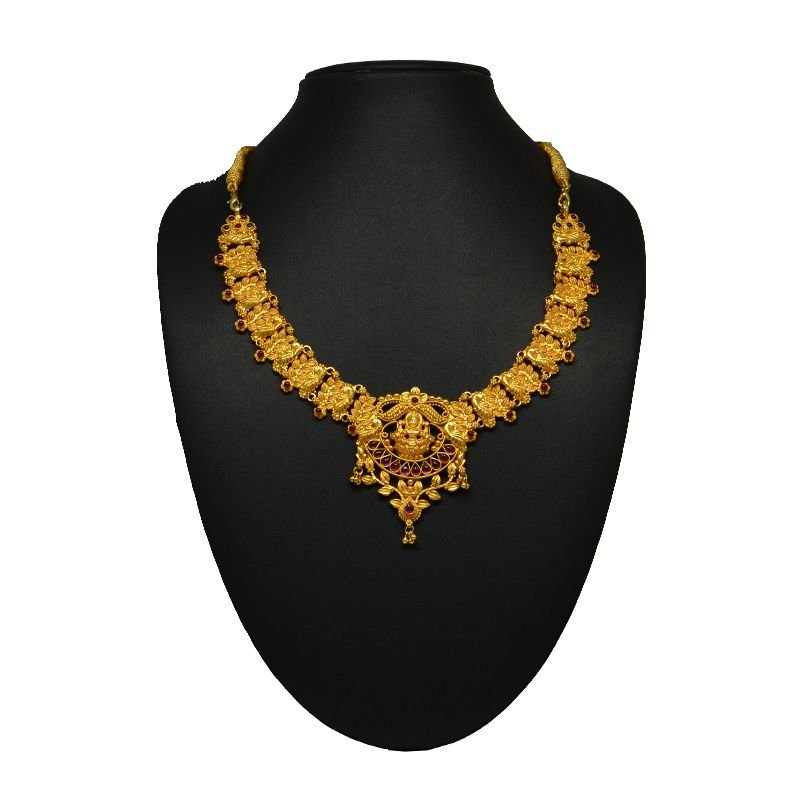 PEACOCK LEAF SHORT GOLD NECKLACE FOR WIFE