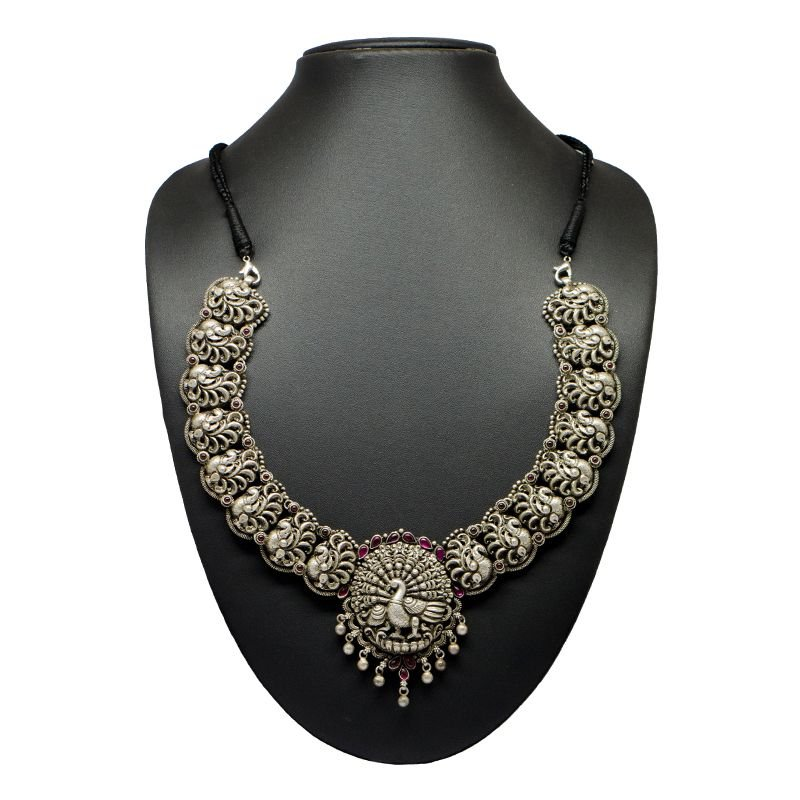 SILVER ANNAM PEACOCK NAGAAS NECKLACE FOR LADIES