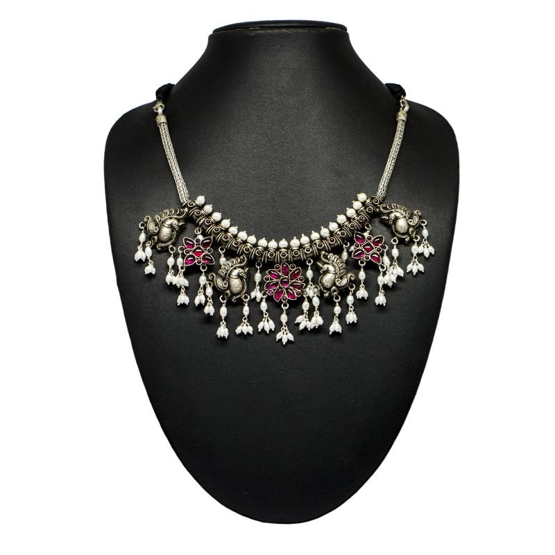 92.5 SILVER ANNAM SPINAL PUSALU NECKLACE FOR GIRLS