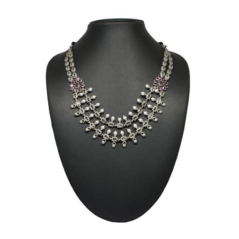 92.5  SILVER TWO LINE POLKI NECKLACE FOR GIRLS