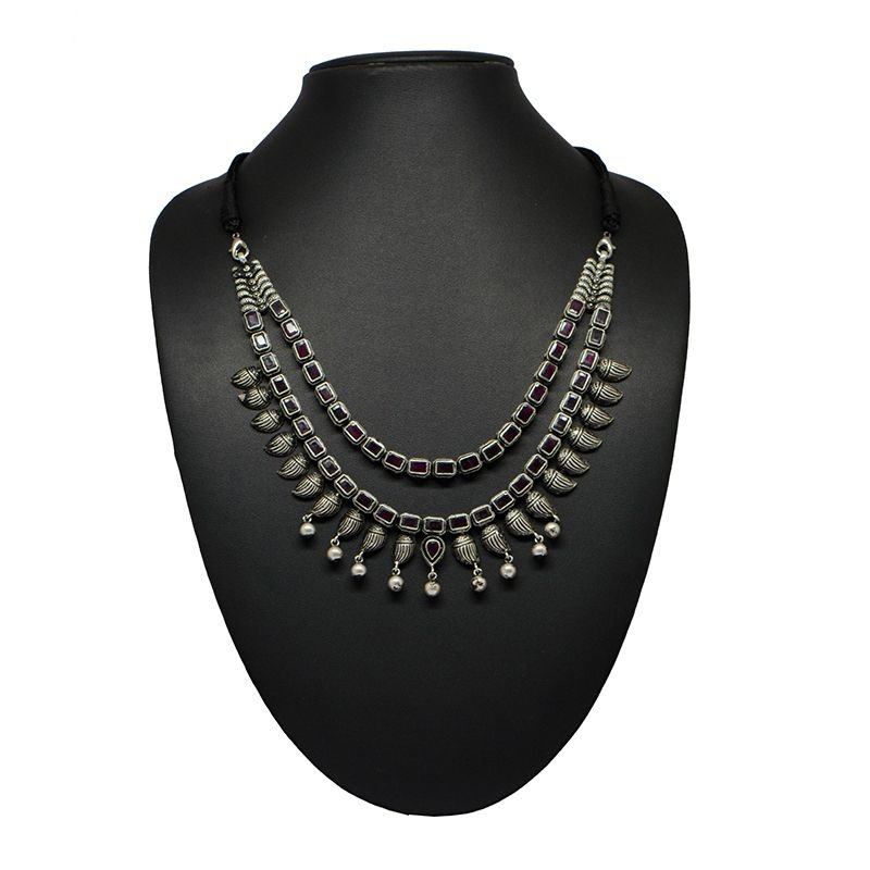 SILVER FUSION TRIPLE LINE NECKLACE FOR GIRLS