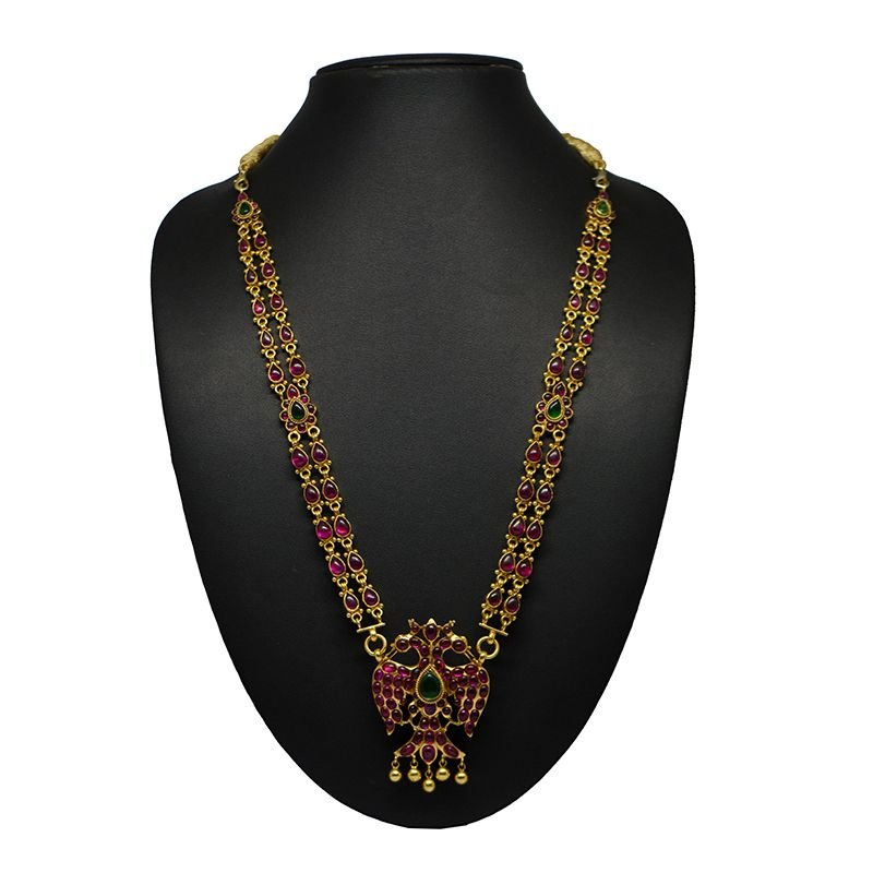 GHAND BHERUNDA PENDANT TWO LINE REMOVABLE SIDE CHAINS GOLD POLISH NECKLACE