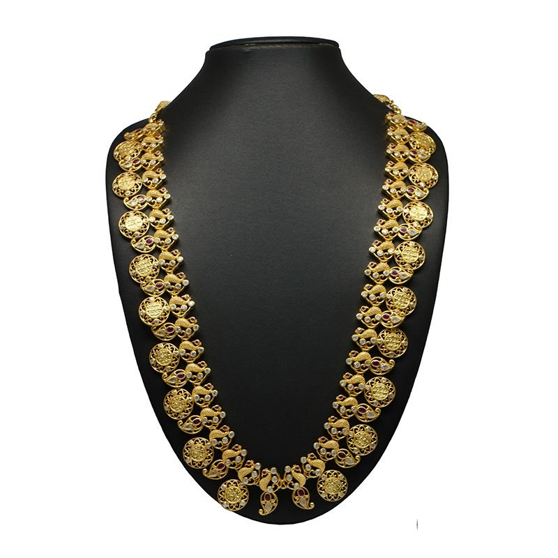 COIN AND MANGO LONG GOLD POLISH NECKLACE
