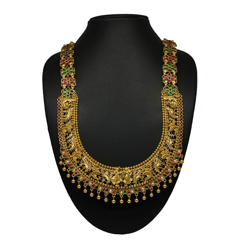 BRIDAL COLLECTION GOLD POLISHED LONG NECKLACE