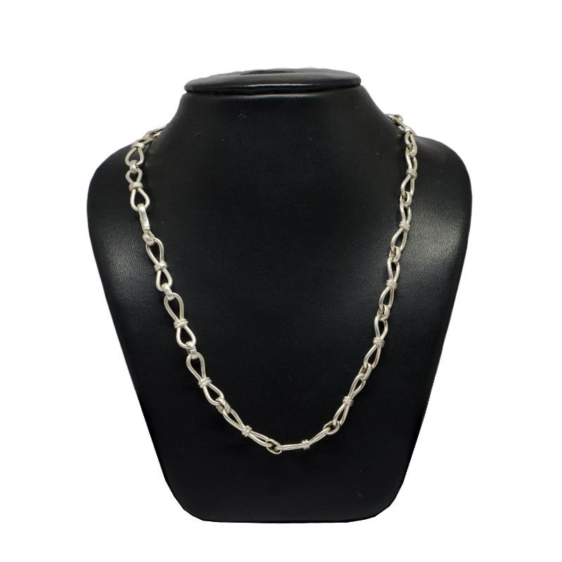 FIGURE EIGHT PURE SILVER OXIDISED MENS CHAIN