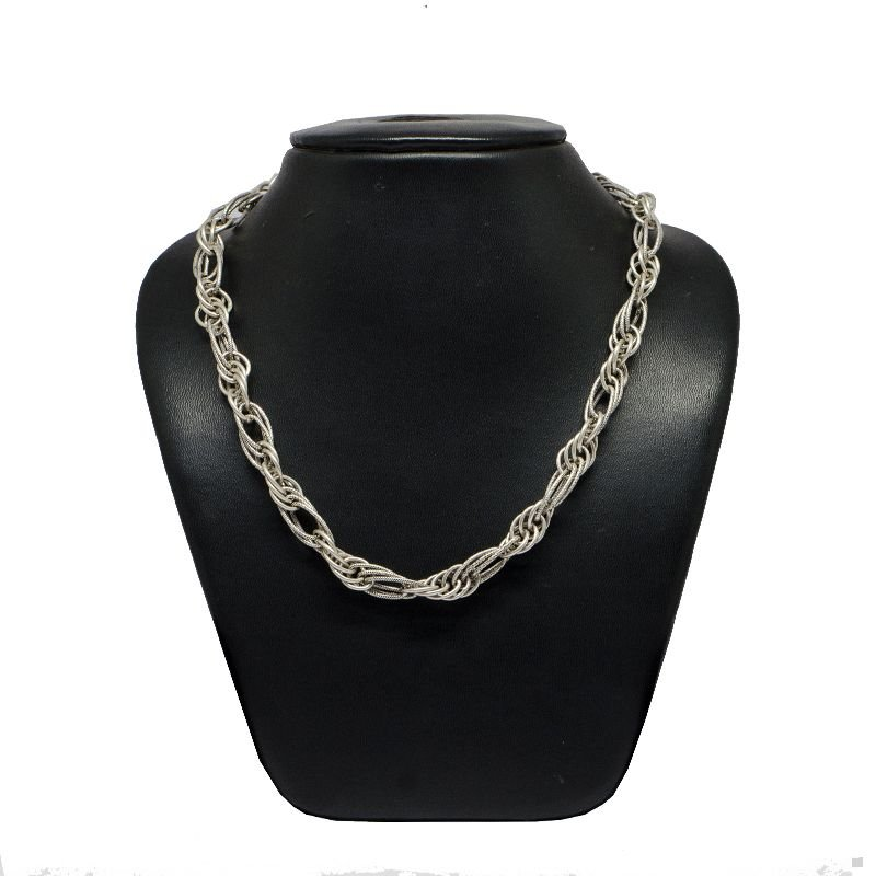 HOLLOW TWIST LINK OXIDISED PURE SILVER MENS CHAIN