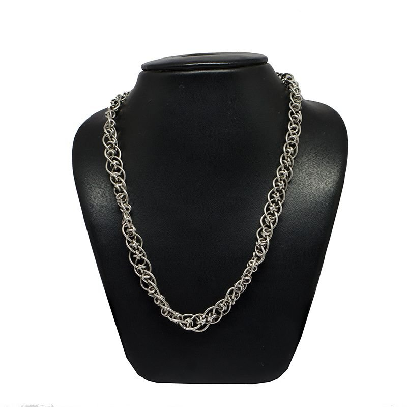HOLLOW DOUBLE CROSS  MENS SILVER OXIDISED CHAIN