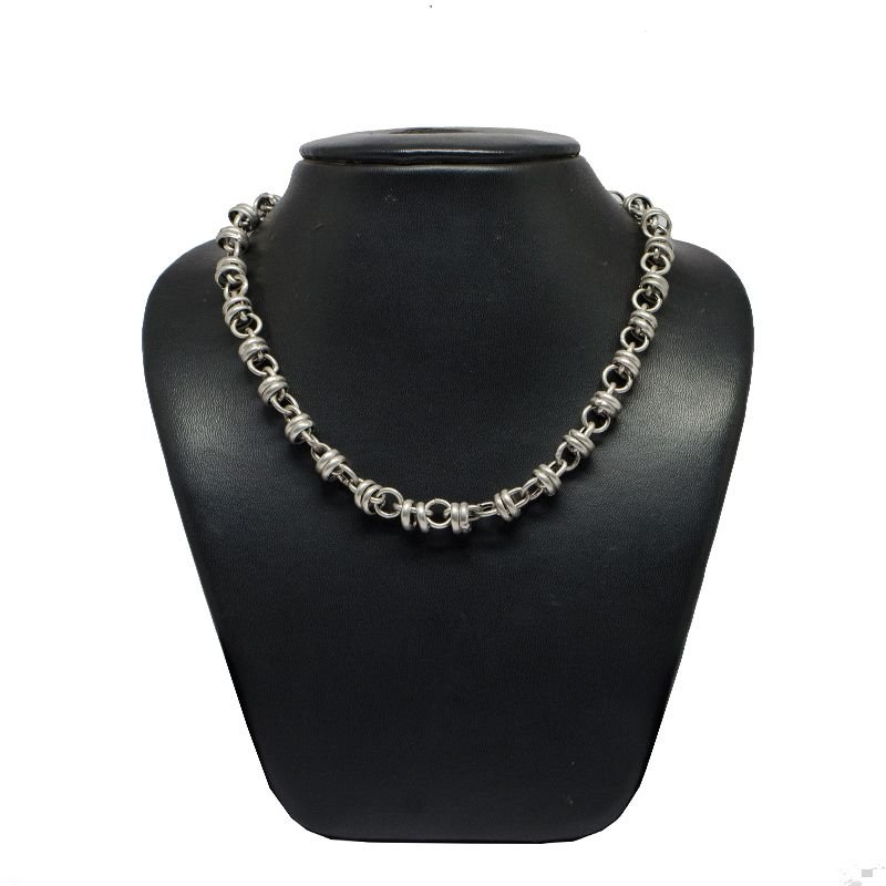 HOLLOW DOUBLE RING OXIDISED PURE SILVER MENS CHAIN