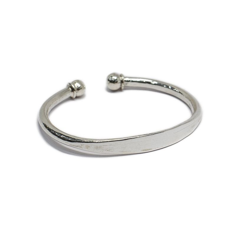 92.5 SILVER NAME TAG BALL CUFF FOR BOYS