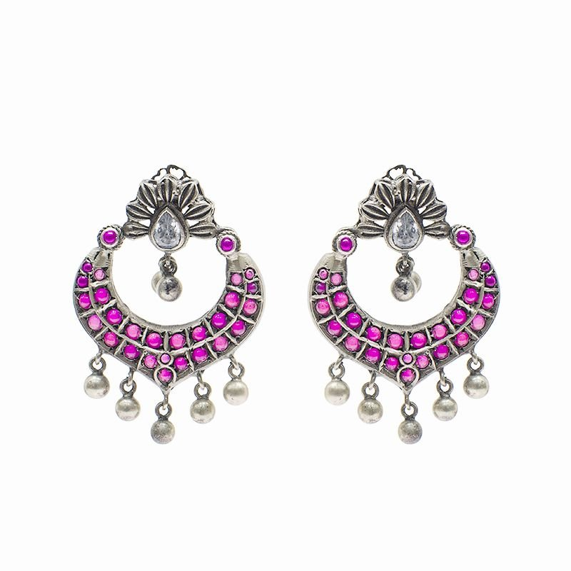 SILVER PEACOCK SPINAL CHAND BALI FOR GIRLS