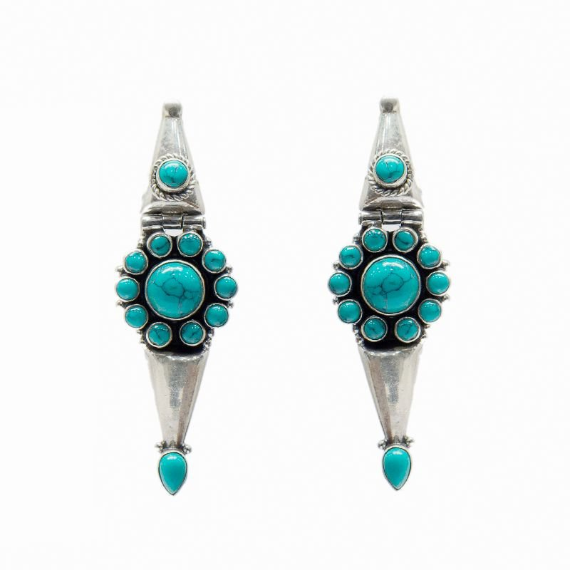 SILVER TURQUOISE STONE EAR DROP FOR GIRLS