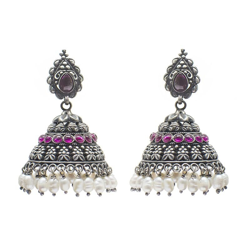 ANTIQUE BLACK  SILVER JHUMKI WITH RED STONE  FOR FOR PRINCESS