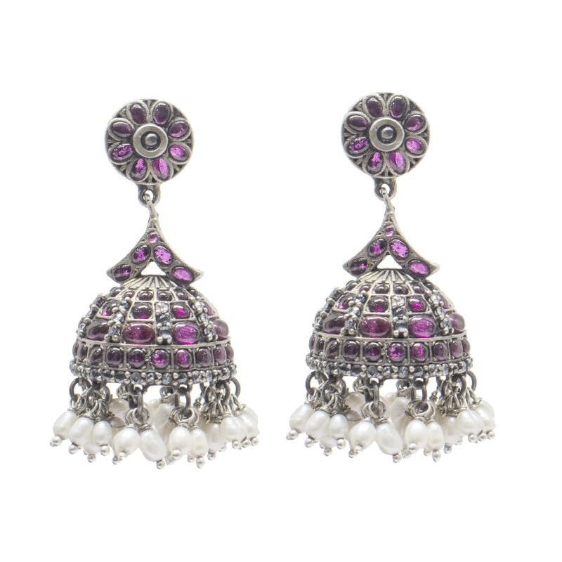 92.5 SILVER RED SPINAL JHUMKI  FOR WIFE