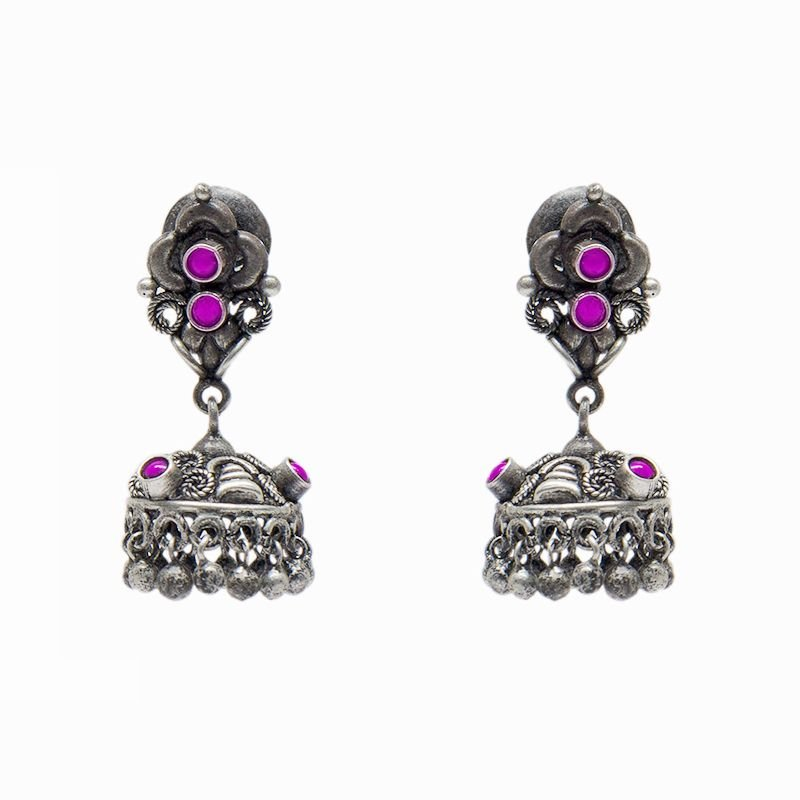 92.5 SILVER JHUMKAA WITH RED STONE  FOR PRINCESS