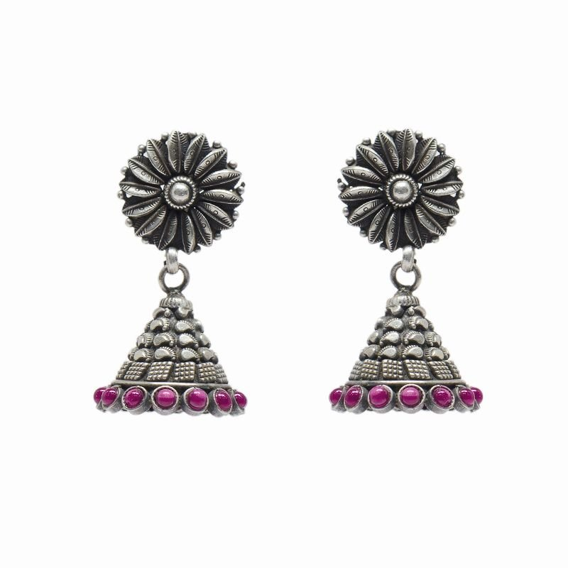SILVER JHUMKAA WITH RED STONE SUN FLOWER FOR WORKING WOMEN