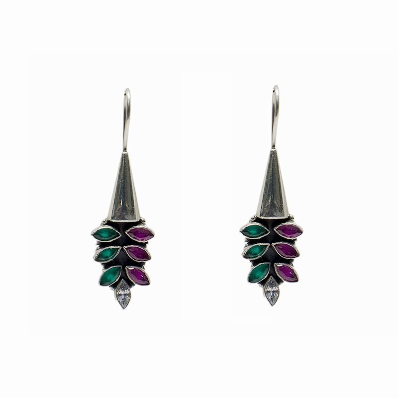 SILVER RUBY EMERALD COLOR EAR HANGING FOR PRINCESS
