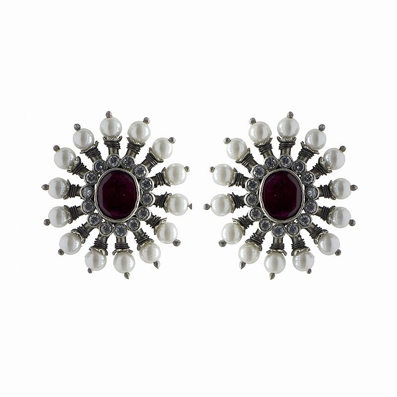 SILVER RUBY COLOR STATEMENT EAR STUDS FOR GIRLS