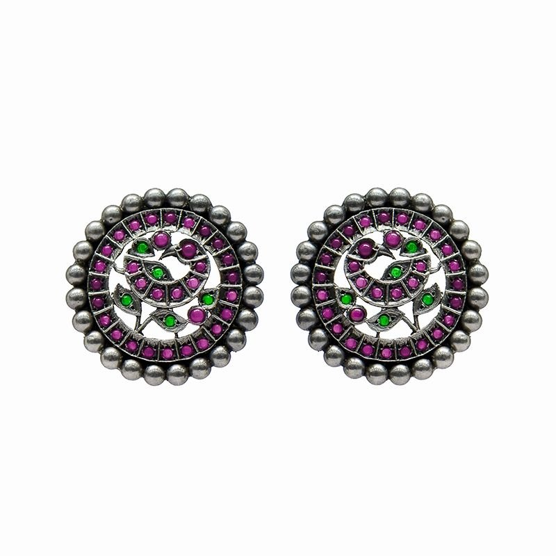 SILVER PEACOCK STUDS FOR GIRLS