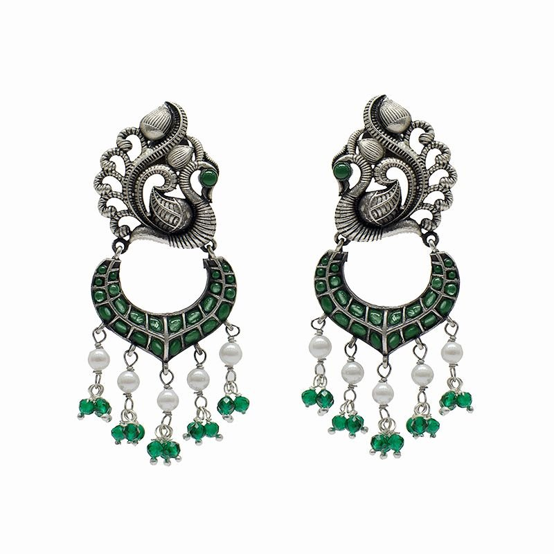 SILVER PEACOCK GREEN CHAND BALI FOR GIRLS