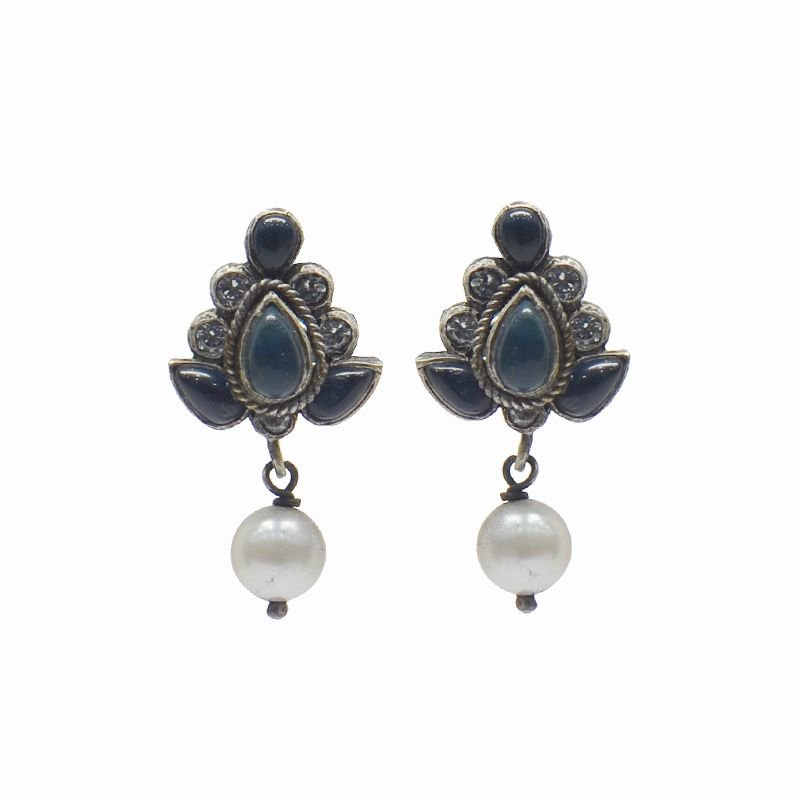 SILVER BLUE EAR STUDS FOR PRINCESS