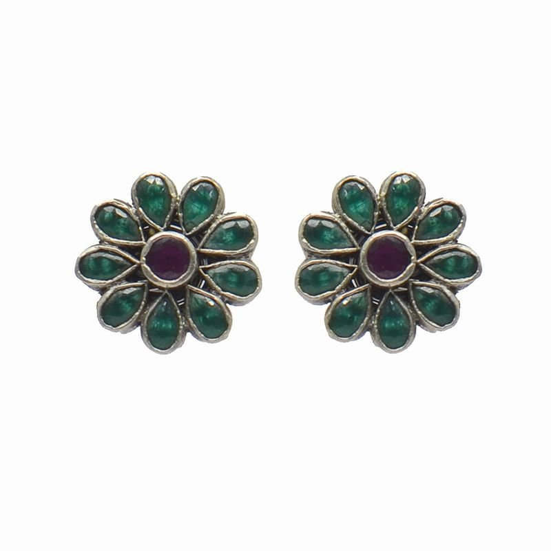 SILVER RED AND GREEN STUD FOR LADIES
