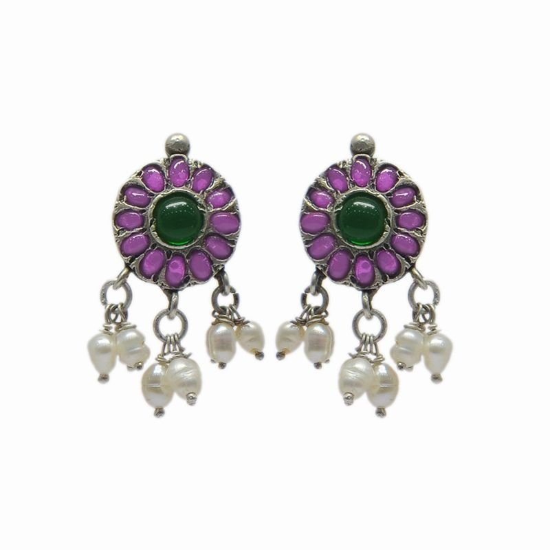 92.5 SILVER CS RED AND GREEN EAR STUD FOR GIRLS
