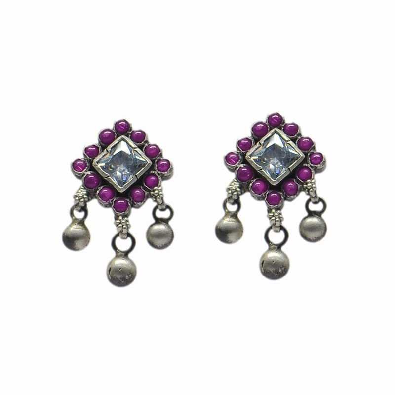 SILVER DIAMOND RUBY EAR RING FOR BRIDAL