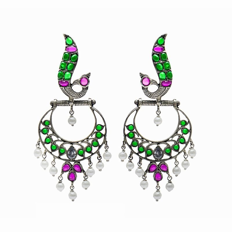 SILVER PEACOCK CHAND BALI FOR GIRLS