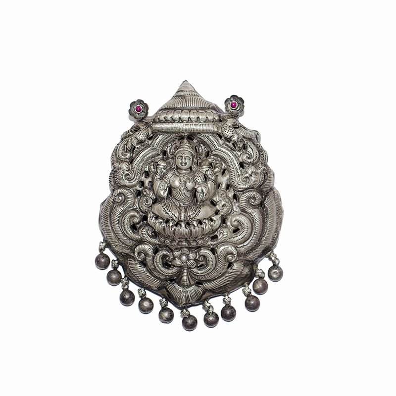 OXIDIZED SILVER YALI NAAGAS LAKSHMI PENDENT FOR LADIES
