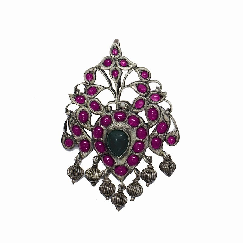 92.5 OXIDIZED SILVER SPINAL BROACH PENDANT FOR GIRLS