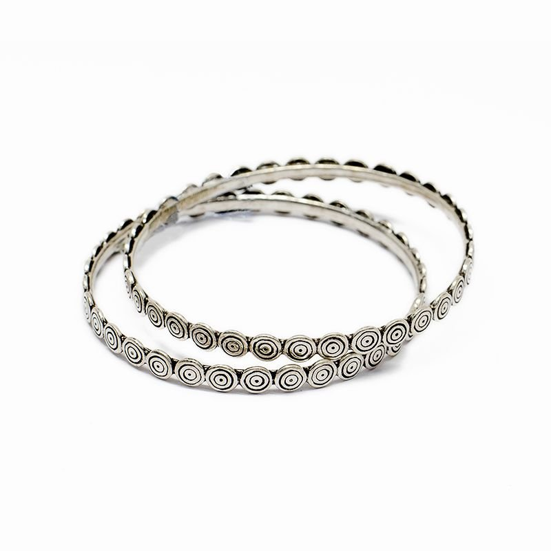 SILVER SPIRAL ANTIC BANGLES FOR WOMEN