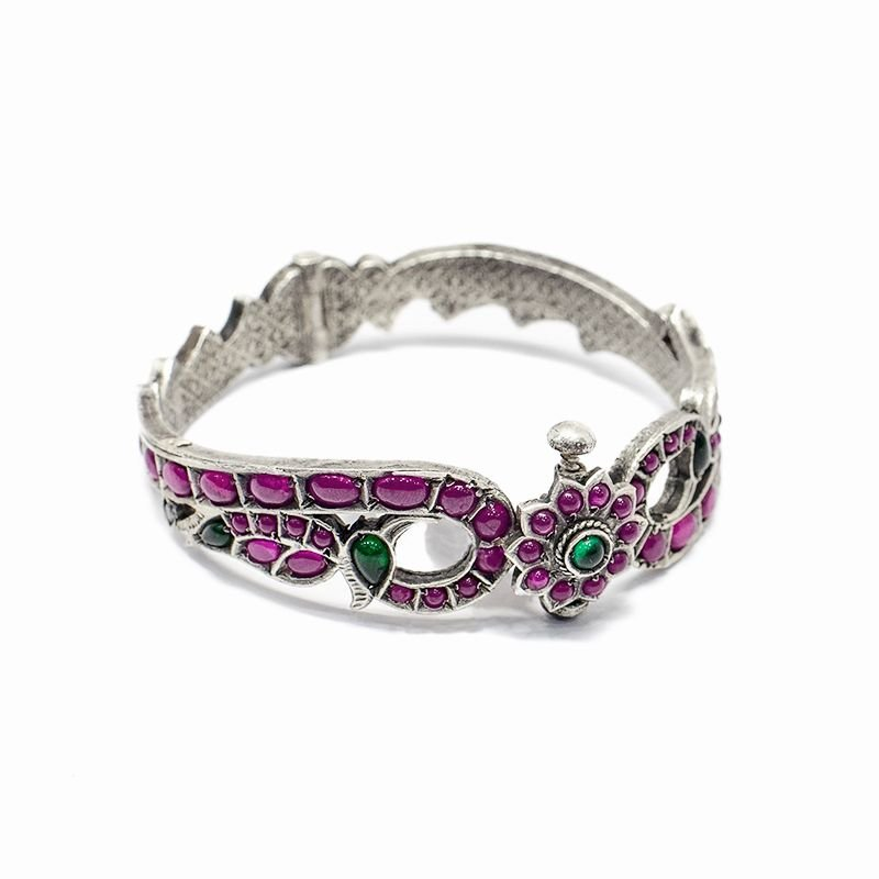 SILVER SPINAL DOUBLE PEACOCK BRACELET FOR GIRLS