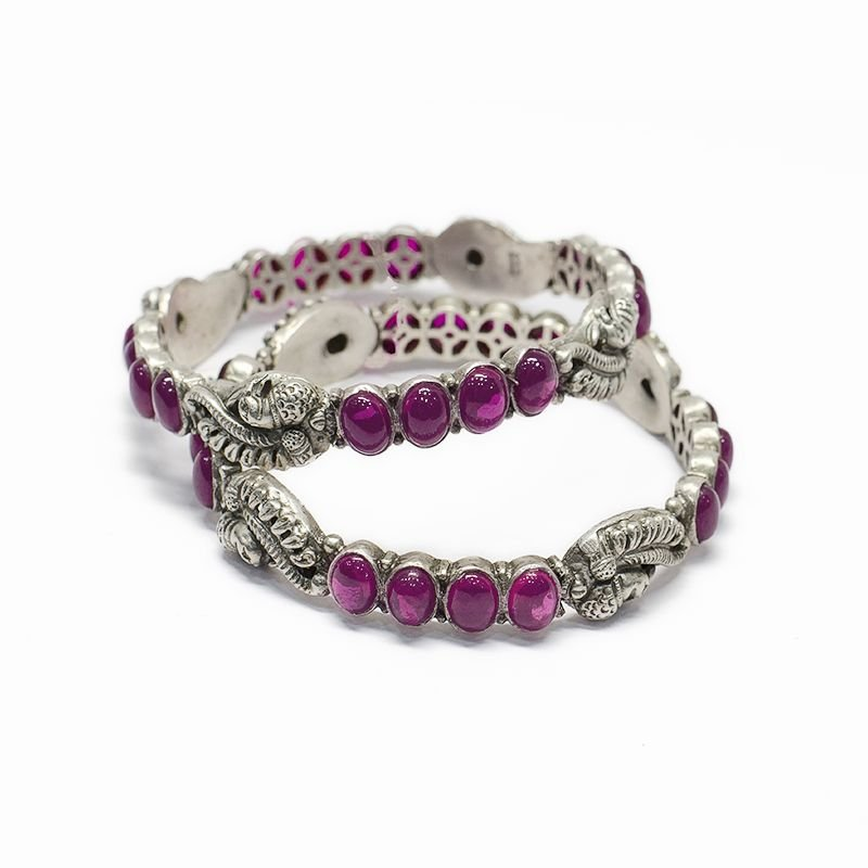 PEACOCK MOTIF SPINAL BANGLES FOR LADIES