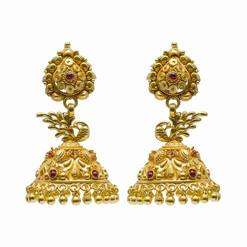 PEACOCK GOLD POLISHED JHUMKI FOR LADIES