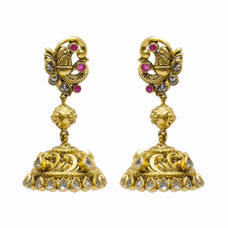 PEACOCK CAST  GOLD POLISHED JHUMKI FOR WIFE